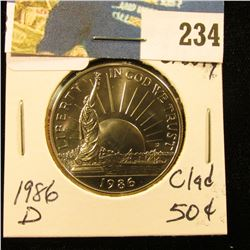 1986 D Statute of Liberty  Clad Hlf Dollar