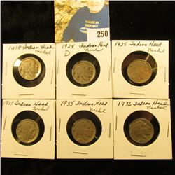 Group of 6 Buffalo Nickels G & better 1919,24-D,25,27,35,36