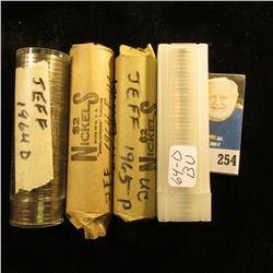 4 BU Rolls of Jefferson Nickels  1 roll 64P, 2 rolls 64D, 1 roll 65P