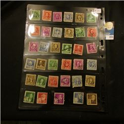 Stamps - Full Set of Used Famous Americans - yr 1940, Scott # 859-893, 35 pieces.  Side 2 is a W.W.