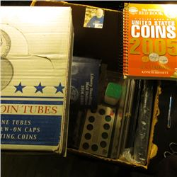 Large Box of Misc Coin Supplies - includes a 2005 red book, box of 100 cent coin tubes, Blue whitman