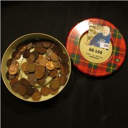 Scotch Cellulose Tape No. 600 Tin with a combination of Old U.S. Wheat Cents & Indian Cents.