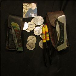 """Custom Crafted Sharps 200"" Lock-blade folding Pocket Knife with leather Sheath; Pakistan folding Po"