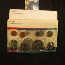 1978 & 1981 U.S. Mint Sets in original cellophane and envelopes.