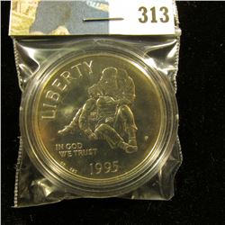 1995 P Civil War U.S. Commemorative Gem BU 68+ Silver Dollar, encapsulated.