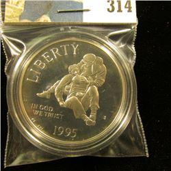 1995 S Civil War U.S. Commemorative Proof 68+ Silver Dollar, encapsulated.