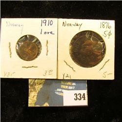 Norway: 1910 Y35 One Ore, VF; & 1876 Y21, 5 Ore