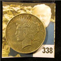 1922 P U.S. Peace Silver Dollar, VF.