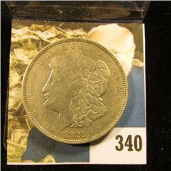 1921 D U.S. Morgan Silver Dollar, Fine.