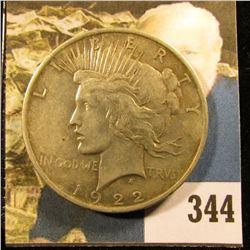 1922 P U.S. Peace Silver Dollar, Fine.