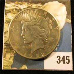 1922 S U.S. Peace Silver Dollar, Fine.