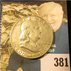 1951 S Franklin Half Dollar, 3/4 Bell Lines. Gem BU.