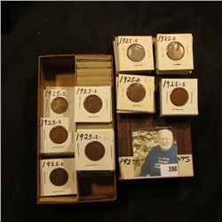 "3 1/4"" x 6 1/4"" Stock Box double row box full of 1 1/2"" carded Lincoln Cents dating 1925D-1926D, man"