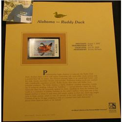 2001 Alabama Waterfowl $5.00 Stamp depicting a pair of Ruddy Duck, Mint, unsigned, in vinyl page wit