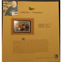 2001 California Waterfowl $10.50 Stamp depicting a flock of Canvasback Ducks, Mint, unsigned, in vin