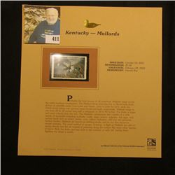 2001 Kentucky Migratory Waterfowl $7.50 Stamp depicting a flock of Mallards, Mint, unsigned, in viny
