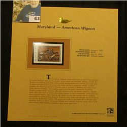 2001 Maryland Waterfowl $6.00 Stamp depicting a pair of American Widgeon, Mint, unsigned, in vinyl p