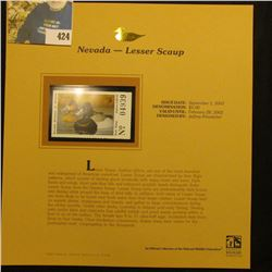 2001 Nevada Waterfowl $5.00 Stamp depicting a pair of Lesser Scaup, Mint, unsigned, in vinyl page wi