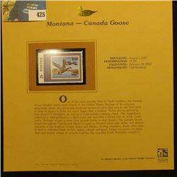 2001 Montana Waterfowl $5.00 Stamp depicting a pair of Canada Geese, Mint, unsigned, in vinyl page w