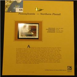 2001 Pennsylvania Waterfowl $5.50 Stamp depicting a flock of Northern Pintail Ducks, Mint, unsigned,