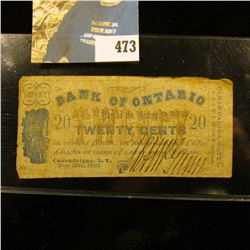 Nov. 15th, 1862 (Civil War Era) Twenty Cent Scrip drawn on the Bank of Ontario thru Canandaigua, N.Y