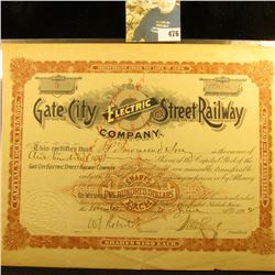 "June 17th, 1892 Keokuk, Iowa Stock Certificate No. 3 for 100 Shares of ""Gate City Electric Street Ra"