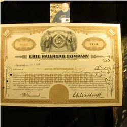 "Aug. 1, 1950 100 Shares of Preferred Stock in ""Erie Railroad Company"", Certificate No. P11215, hole"