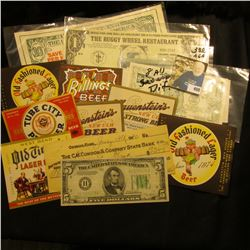 "(7) Different Old Beer labels; ""Holiday Inn"" advertising note; ""The Buggy Wheel Restaurant…Kalona, I"