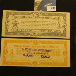 """Schoneman Shoe Store ""Quality Footwear"" Marion, - Kansas"" Poll Parrot Shoe Money $1 & $5 Scrip."