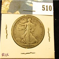 1921 P U.S. Walking Liberty Half Dollar, VF.