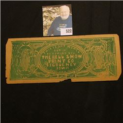 """This is Not Money But is to Remind You The Bell Show Print Co. Sigourney, Iowa…"" Scrip (Bell was a"