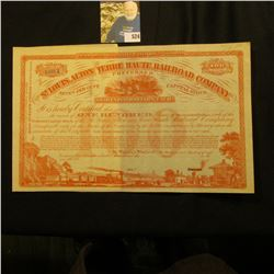 "Unissued Stock Certificate ""The St. Louis, Alton and Terre Haute Railroad Company"" for 100 Shares wi"