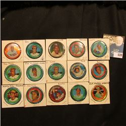 (15) various Round baseball player tins, includes: Jim Hickman, Ron Santo, Dave Johnson, Bill White,