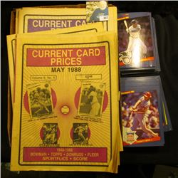 Group of Price Guides and papers for Sports cards dating back to the mid Eighties; & a group of more