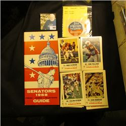"""1968 Senators Guide book and 1969 & 70 Stickers; and a group of Baseball cards put out by KMOX Radi"