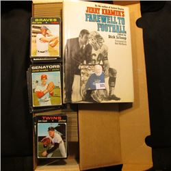 "14"" Card Stock Box about full of 1971 Topps Baseball Cards; & a hardbound book with dust cover title"