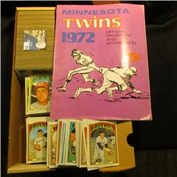 "14"" Card Stock Box 80% full of 1972 Topps Baseball Cards; & a 1972 Minnesota Twins Official Program"