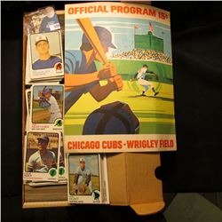 "1971 ""Official Program 15c Chicago Cubs Wrigley Field; & 14"" Card Stock Box 90% full of 1973 Topps B"