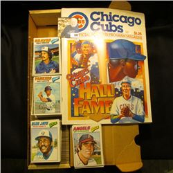 "1983 Chicago Cubs Official Souvenir Program Magazine; & 14"" Card Stock Box full of 1977 Topps Baseba"