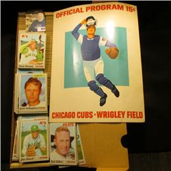 "14"" Card Stock Box 80% full of 1972 Topps Baseball Cards; & a 1973 Used Official Program 15c ""Chicag"