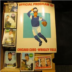 14  Card Stock Box Partially full of 1969 Topps Baseball Cards; & 1973 Used Official Program 15c  Ch