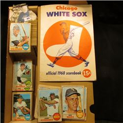"14"" Card Stock Box Partially full of 1968 Topps Baseball Cards; & a used ""Chicago White Sox official"