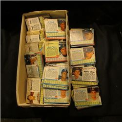 Shoe box more than half full of  Post  Cereal Box cut-out Baseball Cards from the early 1960 era.