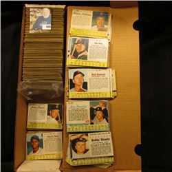 "14"" Card Stock Box Half Full of ""Post"" Cereal Box cut-out Baseball Cards from the 1960 era."