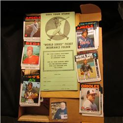 World Series Ticket Insurance Folder  and a 14  Card Stock Box 3/4 full of mid 1980 Baseball Cards.