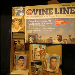14  Card Stock Box half full of 1962 Topps Baseball cards; & March 1986 Vol.1, No. 1  Cubs Vine Line