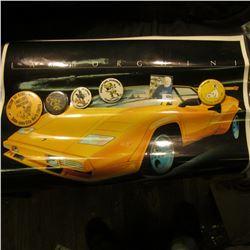 17  x 23  Laminated Poster of a  Lamborghini  in Iowa Hawkeye Colors; & (5) Different 1970-80 Hawkey