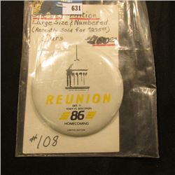 "3 3/8"" 1986 Special Edition # 108 ""Reunion Oct. 11 Iowa Vs. Wisconsin 86 Homecoming Limited Edition"""