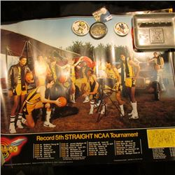 "(5) Different Iowa Hawkeye Posters; (3) Different 1970-80 era Hawkeyes Pinbacks; & a pewter ""Iowa Ha"