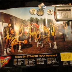 (5) Different Iowa Hawkeye Posters; (3) Different 1970-80 era Hawkeyes Pinbacks; & a pewter  Iowa Ha